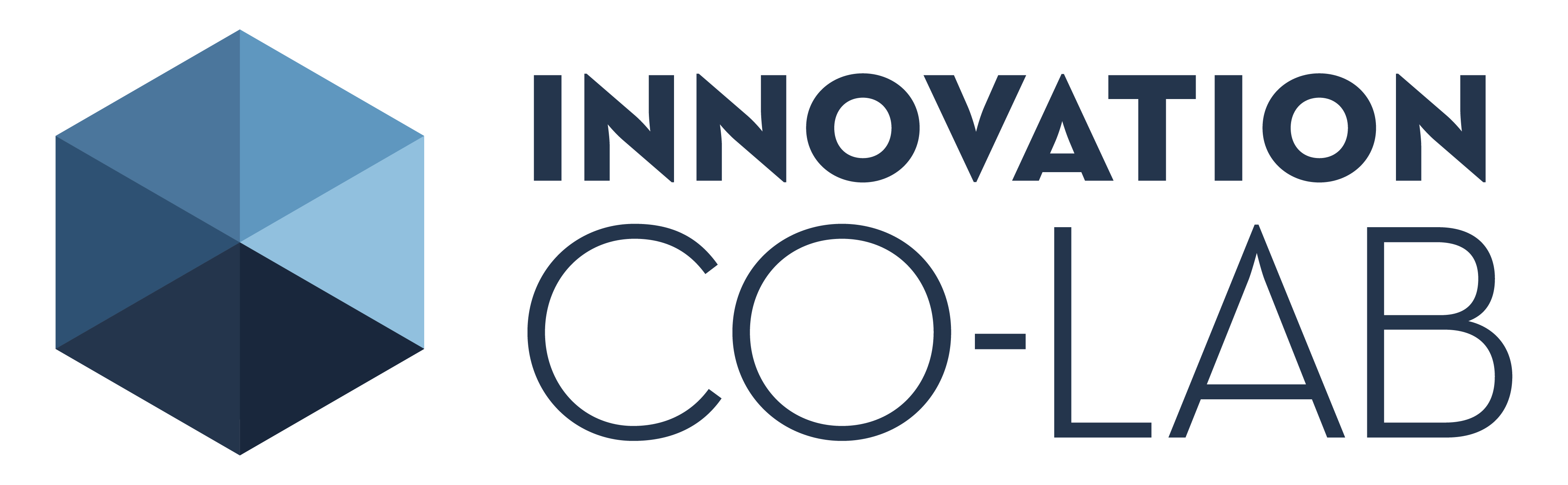 Innovation Co-Lab hexagon logo in blue, with text